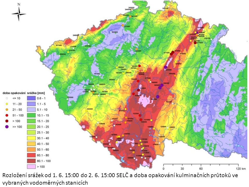 Rozložení srážek od 1. 6. 15:00 do 2. 6.