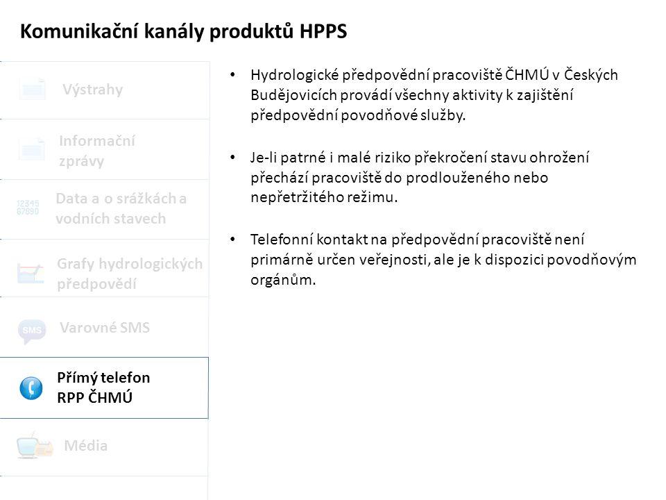 Komunikační kanály produktů HPPS Výstrahy Grafy hydrologických předpovědí Data a o srážkách a vodních stavech Informační zprávy Varovné SMS Přímý telefon RPP ČHMÚ Média Hydrologické předpovědní pracoviště ČHMÚ v Českých Budějovicích provádí všechny aktivity k zajištění předpovědní povodňové služby.