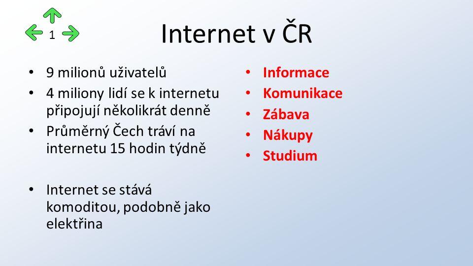 Internet v ČR 9 milionů uživatelů 4 miliony lidí se k internetu připojují několikrát denně Průměrný Čech tráví na internetu 15 hodin týdně Internet se stává komoditou, podobně jako elektřina Informace Komunikace Zábava Nákupy Studium 1