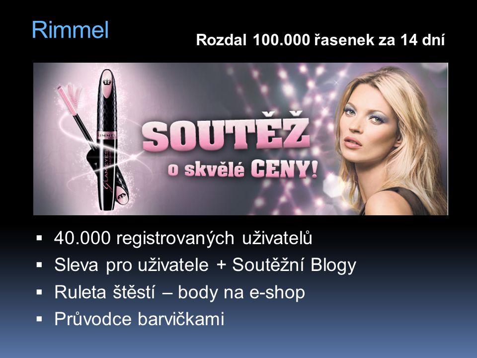 Rimmel  40.000 registrovaných uživatelů  Sleva pro uživatele + Soutěžní Blogy  Ruleta štěstí – body na e-shop  Průvodce barvičkami Rozdal 100.000 řasenek za 14 dní