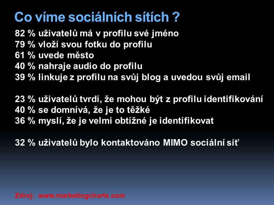 Co víme sociálních sítích .