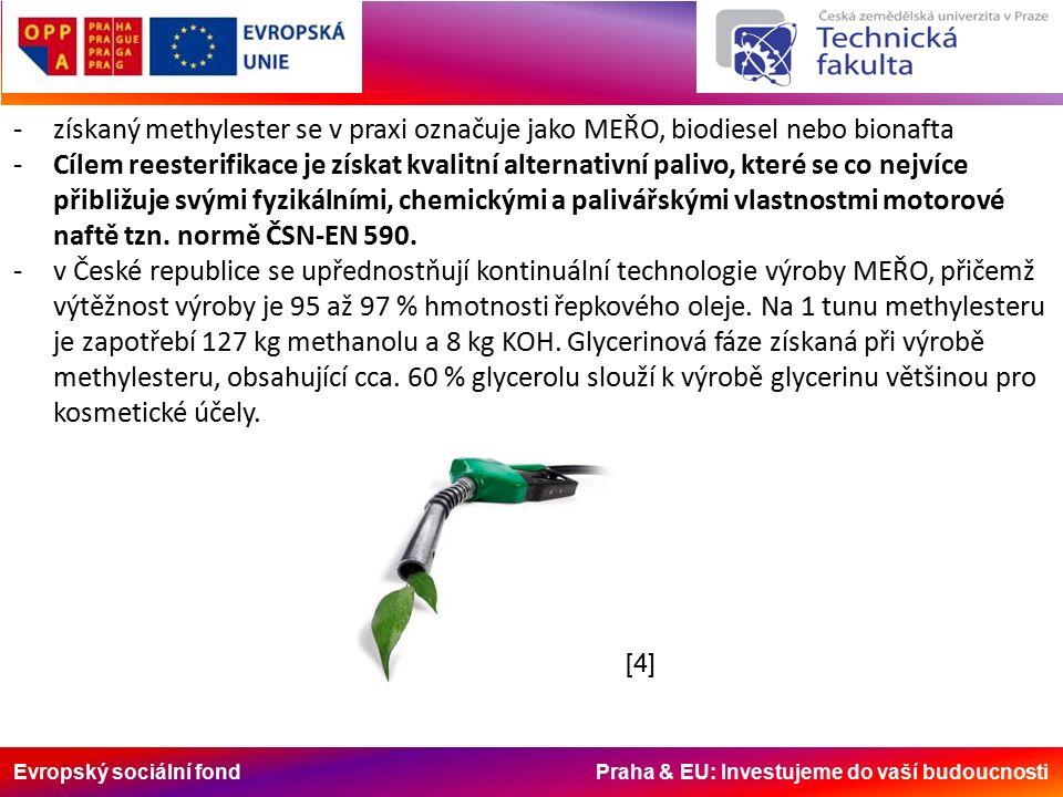 Evropský sociální fond Praha & EU: Investujeme do vaší budoucnosti -získaný methylester se v praxi označuje jako MEŘO, biodiesel nebo bionafta -Cílem reesterifikace je získat kvalitní alternativní palivo, které se co nejvíce přibližuje svými fyzikálními, chemickými a palivářskými vlastnostmi motorové naftě tzn.