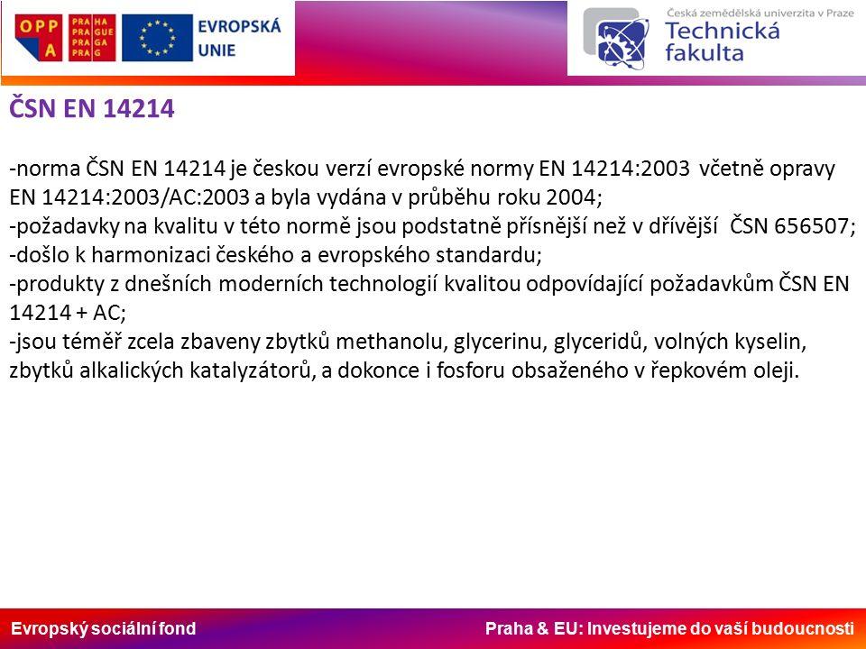 Evropský sociální fond Praha & EU: Investujeme do vaší budoucnosti ČSN EN 14214 -norma ČSN EN 14214 je českou verzí evropské normy EN 14214:2003 včetně opravy EN 14214:2003/AC:2003 a byla vydána v průběhu roku 2004; -požadavky na kvalitu v této normě jsou podstatně přísnější než v dřívější ČSN 656507; -došlo k harmonizaci českého a evropského standardu; -produkty z dnešních moderních technologií kvalitou odpovídající požadavkům ČSN EN 14214 + AC; -jsou téměř zcela zbaveny zbytků methanolu, glycerinu, glyceridů, volných kyselin, zbytků alkalických katalyzátorů, a dokonce i fosforu obsaženého v řepkovém oleji.