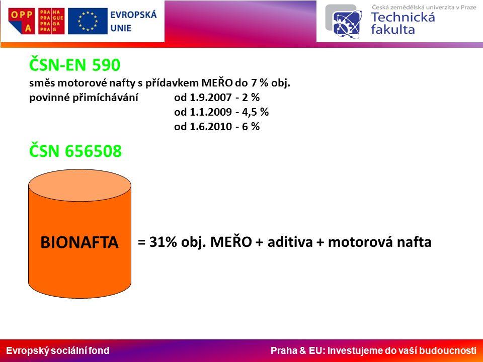 Evropský sociální fond Praha & EU: Investujeme do vaší budoucnosti ČSN-EN 590 směs motorové nafty s přídavkem MEŘO do 7 % obj.