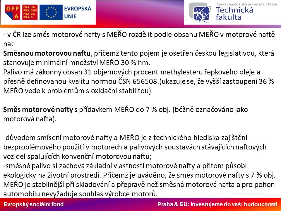 Evropský sociální fond Praha & EU: Investujeme do vaší budoucnosti - v ČR lze směs motorové nafty s MEŘO rozdělit podle obsahu MEŘO v motorové naftě na: Směsnou motorovou naftu, přičemž tento pojem je ošetřen českou legislativou, která stanovuje minimální množství MEŘO 30 % hm.