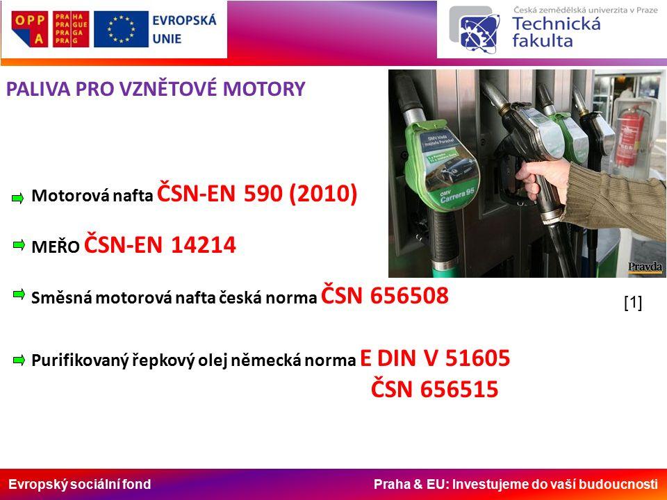 Evropský sociální fond Praha & EU: Investujeme do vaší budoucnosti Motorová nafta ČSN-EN 590 (2010) MEŘO ČSN-EN 14214 Směsná motorová nafta česká norma ČSN 656508 Purifikovaný řepkový olej německá norma E DIN V 51605 ČSN 656515 PALIVA PRO VZNĚTOVÉ MOTORY [1]