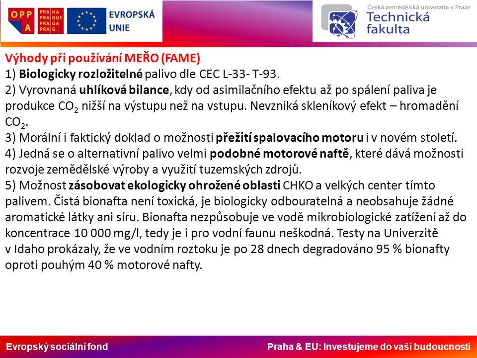 Evropský sociální fond Praha & EU: Investujeme do vaší budoucnosti Výhody při používání MEŘO (FAME) 1) Biologicky rozložitelné palivo dle CEC L-33- T-93.