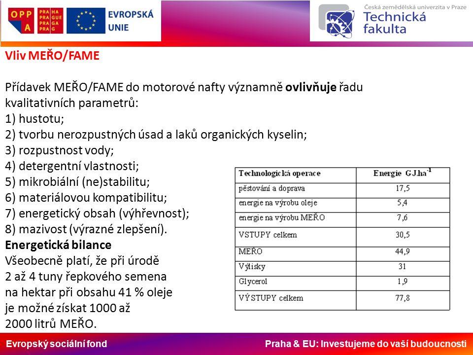 Evropský sociální fond Praha & EU: Investujeme do vaší budoucnosti Vliv MEŘO/FAME Přídavek MEŘO/FAME do motorové nafty významně ovlivňuje řadu kvalitativních parametrů: 1) hustotu; 2) tvorbu nerozpustných úsad a laků organických kyselin; 3) rozpustnost vody; 4) detergentní vlastnosti; 5) mikrobiální (ne)stabilitu; 6) materiálovou kompatibilitu; 7) energetický obsah (výhřevnost); 8) mazivost (výrazné zlepšení).