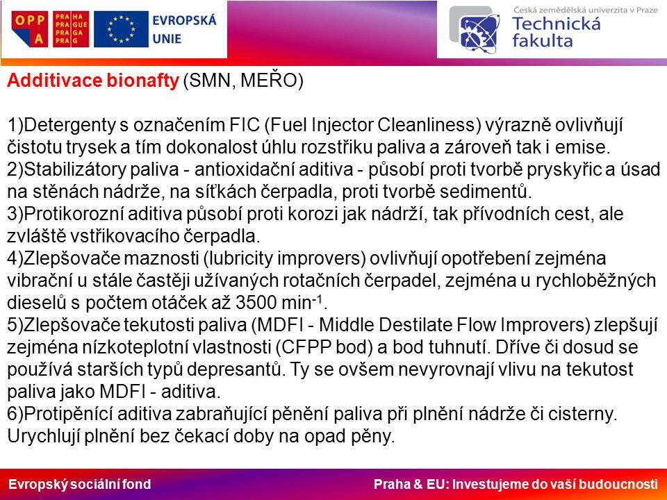 Evropský sociální fond Praha & EU: Investujeme do vaší budoucnosti Additivace bionafty (SMN, MEŘO) 1)Detergenty s označením FIC (Fuel Injector Cleanliness) výrazně ovlivňují čistotu trysek a tím dokonalost úhlu rozstřiku paliva a zároveň tak i emise.