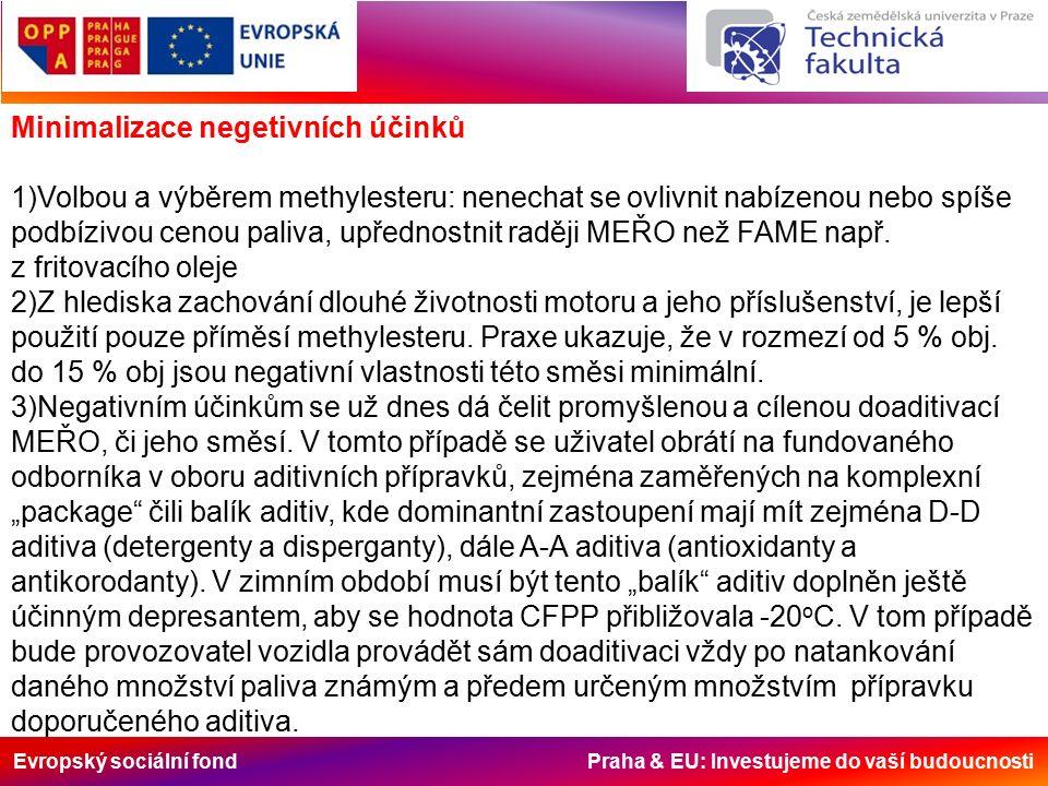 Evropský sociální fond Praha & EU: Investujeme do vaší budoucnosti Minimalizace negetivních účinků 1)Volbou a výběrem methylesteru: nenechat se ovlivnit nabízenou nebo spíše podbízivou cenou paliva, upřednostnit raději MEŘO než FAME např.