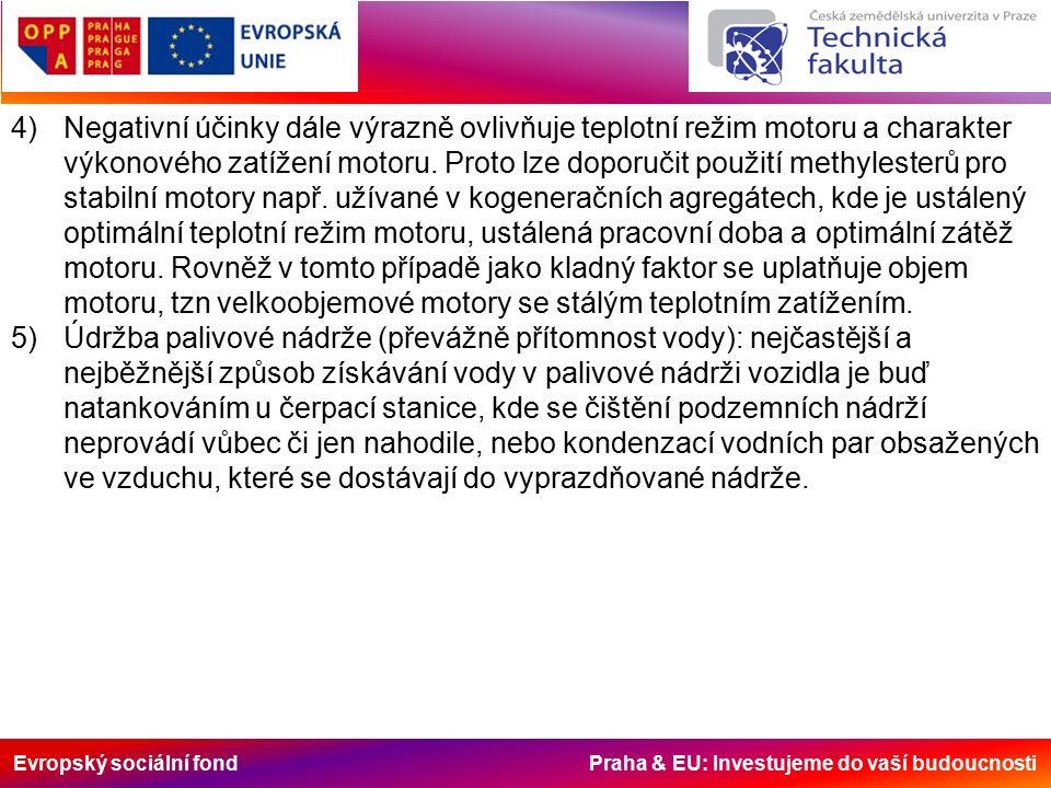 Evropský sociální fond Praha & EU: Investujeme do vaší budoucnosti 4)Negativní účinky dále výrazně ovlivňuje teplotní režim motoru a charakter výkonového zatížení motoru.