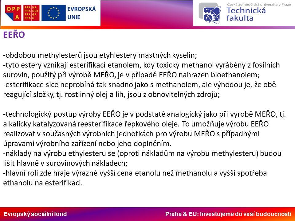 Evropský sociální fond Praha & EU: Investujeme do vaší budoucnosti EEŘO -obdobou methylesterů jsou etyhlestery mastných kyselin; -tyto estery vznikají esterifikací etanolem, kdy toxický methanol vyráběný z fosilních surovin, použitý při výrobě MEŘO, je v případě EEŘO nahrazen bioethanolem; -esterifikace sice neprobíhá tak snadno jako s methanolem, ale výhodou je, že obě reagující složky, tj.