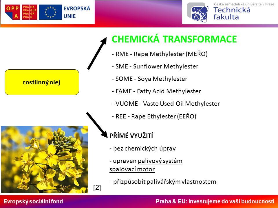 Evropský sociální fond Praha & EU: Investujeme do vaší budoucnosti rostlinný olej CHEMICKÁ TRANSFORMACE - RME - Rape Methylester (MEŘO) - SME - Sunflower Methylester - SOME - Soya Methylester - FAME - Fatty Acid Methylester - VUOME - Vaste Used Oil Methylester - REE - Rape Ethylester (EEŘO) PŘÍMÉ VYUŽITÍ - bez chemických úprav - upraven palivový systém spalovací motor - přizpůsobit palivářským vlastnostem [2][2]