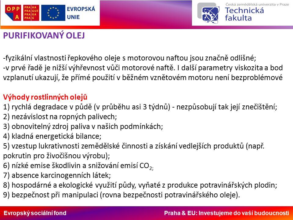 Evropský sociální fond Praha & EU: Investujeme do vaší budoucnosti PURIFIKOVANÝ OLEJ -fyzikální vlastnosti řepkového oleje s motorovou naftou jsou značně odlišné; -v prvé řadě je nižší výhřevnost vůči motorové naftě.