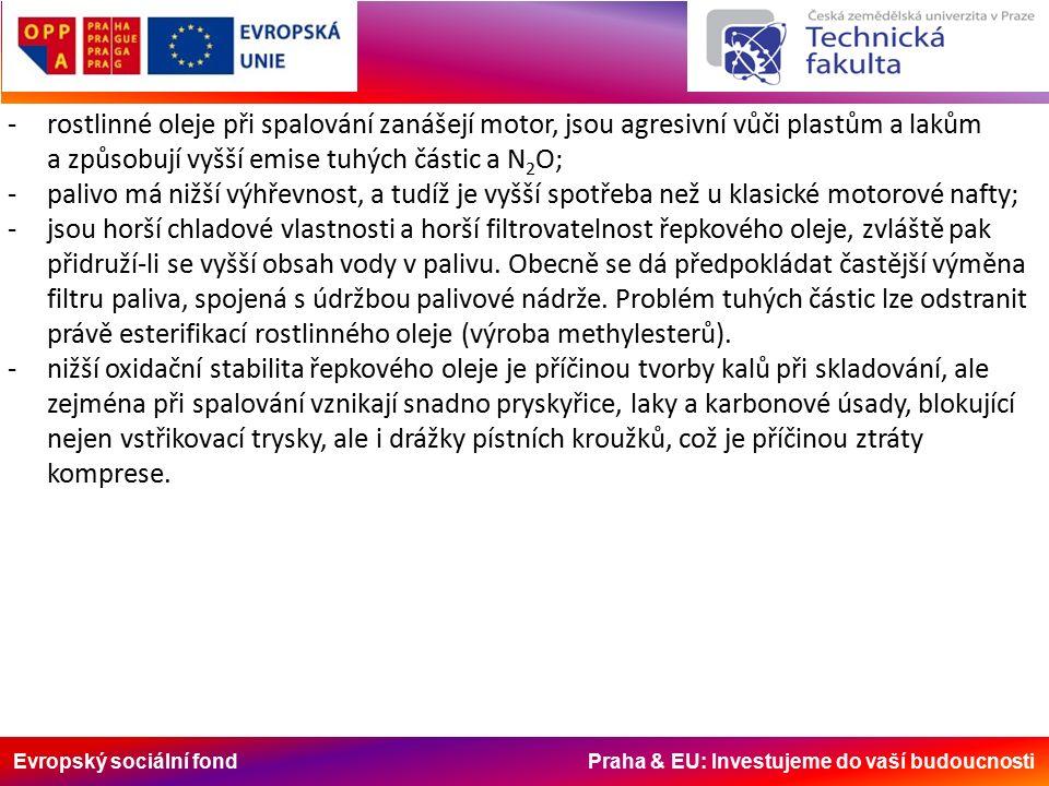 Evropský sociální fond Praha & EU: Investujeme do vaší budoucnosti -rostlinné oleje při spalování zanášejí motor, jsou agresivní vůči plastům a lakům a způsobují vyšší emise tuhých částic a N 2 O; -palivo má nižší výhřevnost, a tudíž je vyšší spotřeba než u klasické motorové nafty; -jsou horší chladové vlastnosti a horší filtrovatelnost řepkového oleje, zvláště pak přidruží-li se vyšší obsah vody v palivu.