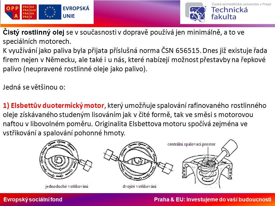 Evropský sociální fond Praha & EU: Investujeme do vaší budoucnosti Čistý rostlinný olej se v současnosti v dopravě používá jen minimálně, a to ve speciálních motorech.