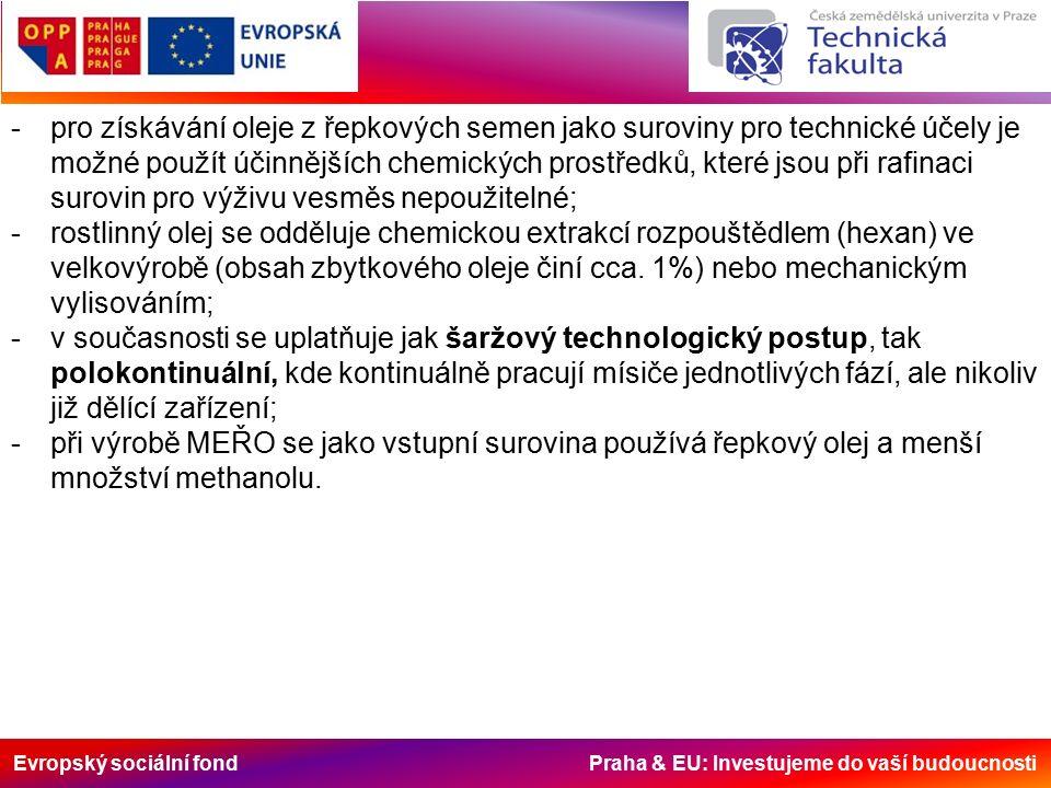 -pro získávání oleje z řepkových semen jako suroviny pro technické účely je možné použít účinnějších chemických prostředků, které jsou při rafinaci surovin pro výživu vesměs nepoužitelné; -rostlinný olej se odděluje chemickou extrakcí rozpouštědlem (hexan) ve velkovýrobě (obsah zbytkového oleje činí cca.