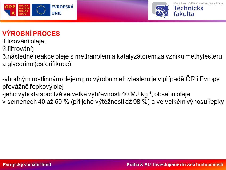 Evropský sociální fond Praha & EU: Investujeme do vaší budoucnosti VÝROBNÍ PROCES 1.lisování oleje; 2.filtrování; 3.následné reakce oleje s methanolem a katalyzátorem za vzniku methylesteru a glycerinu (esterifikace) -vhodným rostlinným olejem pro výrobu methylesteru je v případě ČR i Evropy převážně řepkový olej -jeho výhoda spočívá ve velké výhřevnosti 40 MJ.kg -1, obsahu oleje v semenech 40 až 50 % (při jeho výtěžnosti až 98 %) a ve velkém výnosu řepky
