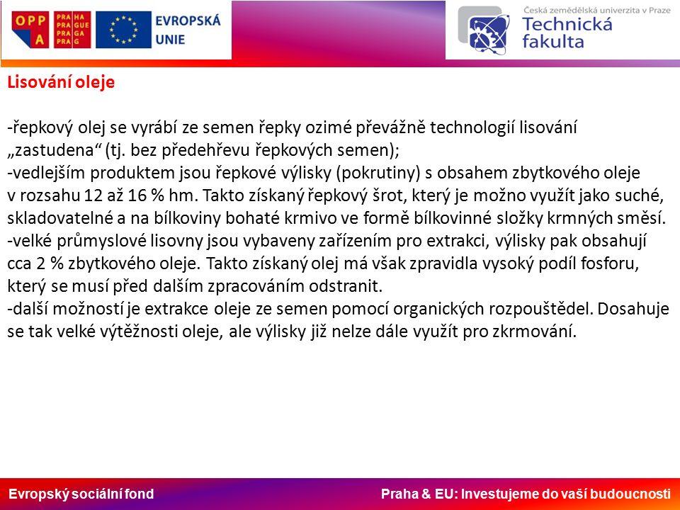 """Evropský sociální fond Praha & EU: Investujeme do vaší budoucnosti Lisování oleje -řepkový olej se vyrábí ze semen řepky ozimé převážně technologií lisování """"zastudena (tj."""