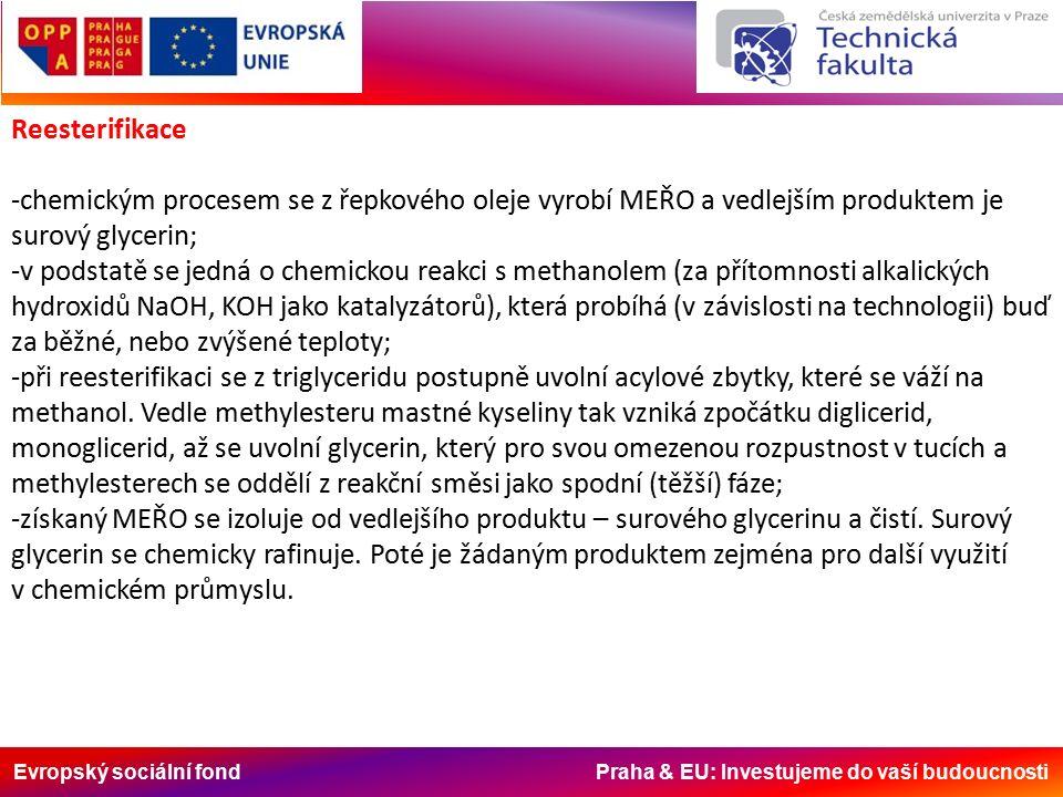 Evropský sociální fond Praha & EU: Investujeme do vaší budoucnosti Reesterifikace -chemickým procesem se z řepkového oleje vyrobí MEŘO a vedlejším produktem je surový glycerin; -v podstatě se jedná o chemickou reakci s methanolem (za přítomnosti alkalických hydroxidů NaOH, KOH jako katalyzátorů), která probíhá (v závislosti na technologii) buď za běžné, nebo zvýšené teploty; -při reesterifikaci se z triglyceridu postupně uvolní acylové zbytky, které se váží na methanol.