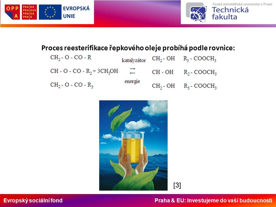 Evropský sociální fond Praha & EU: Investujeme do vaší budoucnosti Proces reesterifikace řepkového oleje probíhá podle rovnice: [3][3]