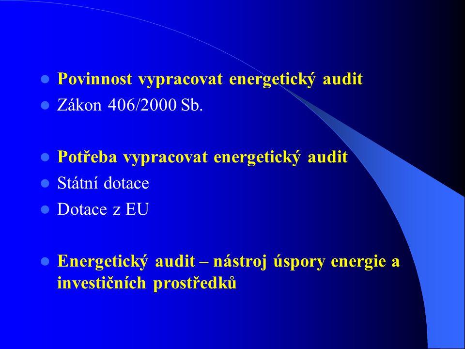 Povinnost vypracovat energetický audit Zákon 406/2000 Sb. Potřeba vypracovat energetický audit Státní dotace Dotace z EU Energetický audit – nástroj ú