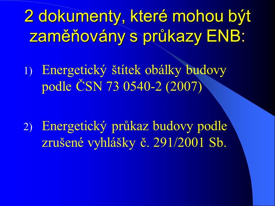 2 dokumenty, které mohou být zaměňovány s průkazy ENB: 1) Energetický štítek obálky budovy podle ČSN 73 0540-2 (2007) 2) Energetický průkaz budovy pod