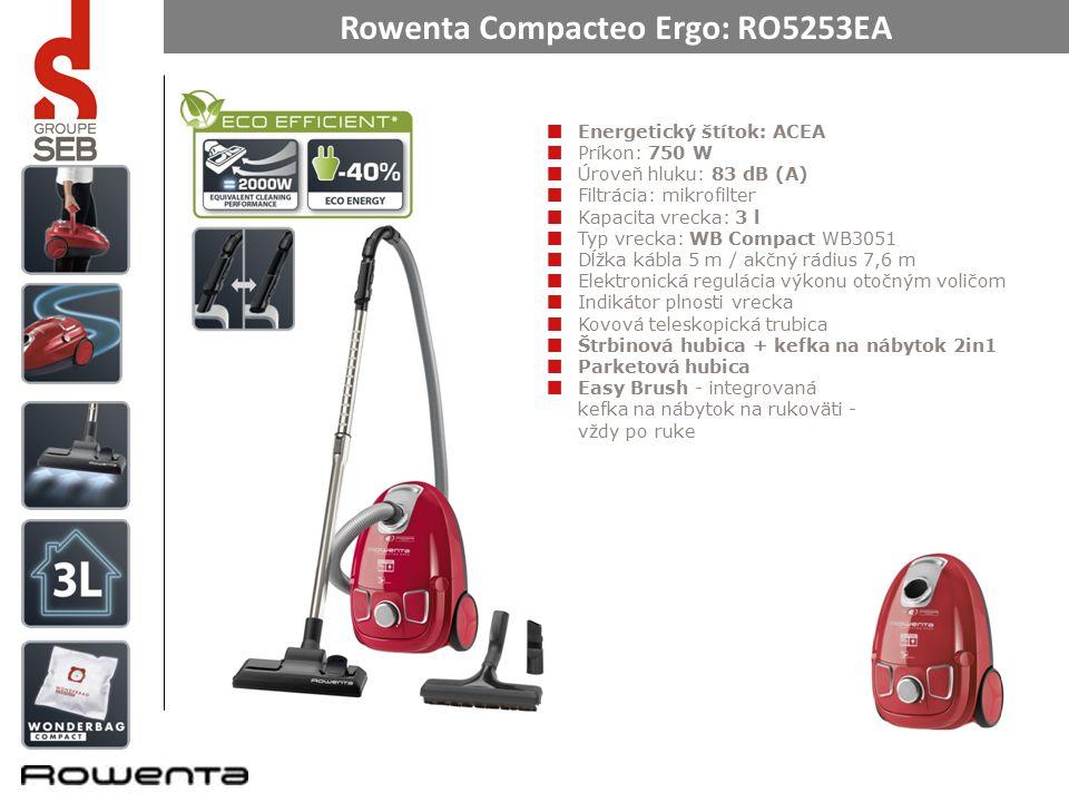 Rowenta Compacteo Ergo: RO5253EA Energiacímke: ACEA Fogyasztás: 750 W Zajszint: 83 dB (A) Szűrés: mikroszűrő Porzsák kapacitása : 3 l Porzsák típusa: WB Compact WB3051 Kábel hossza 5 m / sugara 7,6 m Elektronikus teljesítményt szabályzó forgószelektor Porzsák csere indikátor Fém teleszkópos cső Réstisztító szívófej + bútor tisztító kefe 2in1 Parketta tisztító szívófej Easy Brush – a fogantyúba épített bútorkefe - mindig kéznél van