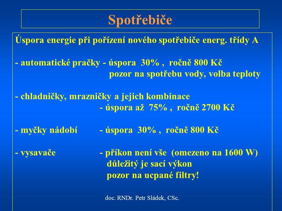 doc. RNDr. Petr Sládek, CSc. Úspora energie při pořízení nového spotřebiče energ.