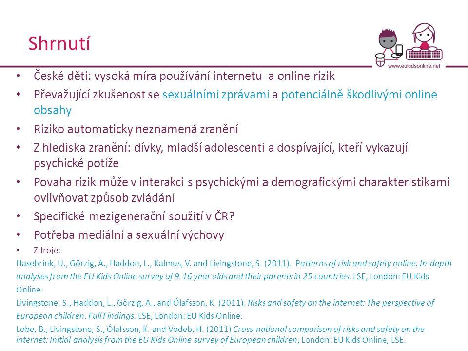 Shrnutí České děti: vysoká míra používání internetu a online rizik Převažující zkušenost se sexuálními zprávami a potenciálně škodlivými online obsahy