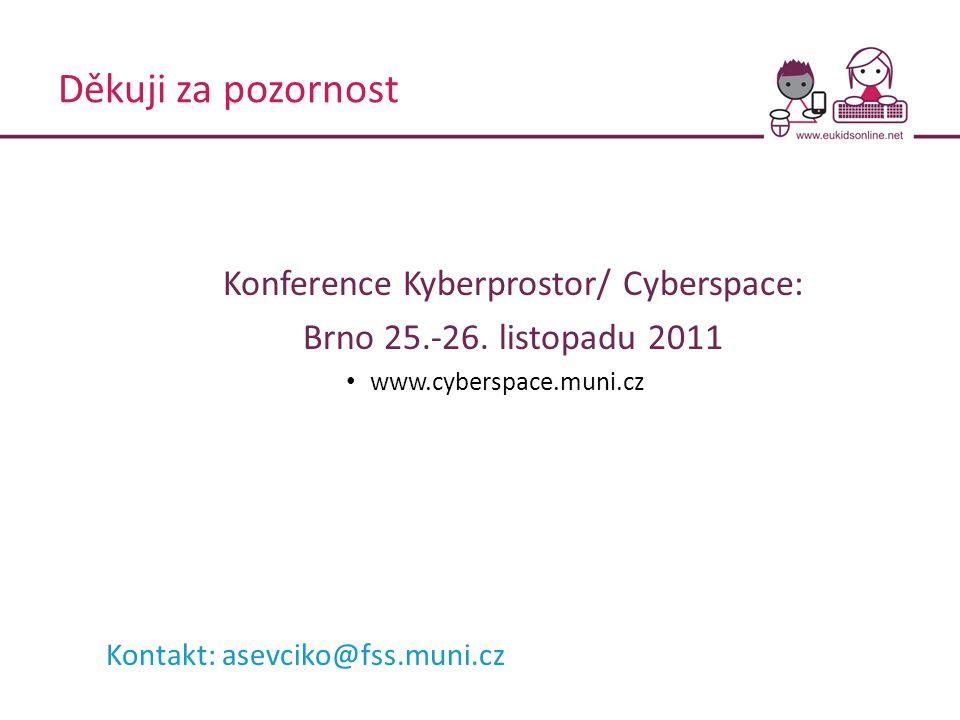 Děkuji za pozornost Konference Kyberprostor/ Cyberspace: Brno 25.-26. listopadu 2011 www.cyberspace.muni.cz Kontakt: asevciko@fss.muni.cz