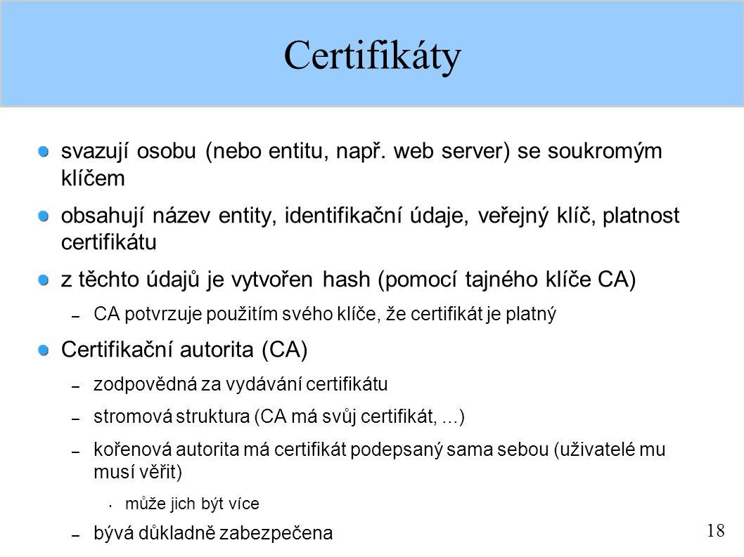 18 Certifikáty svazují osobu (nebo entitu, např.