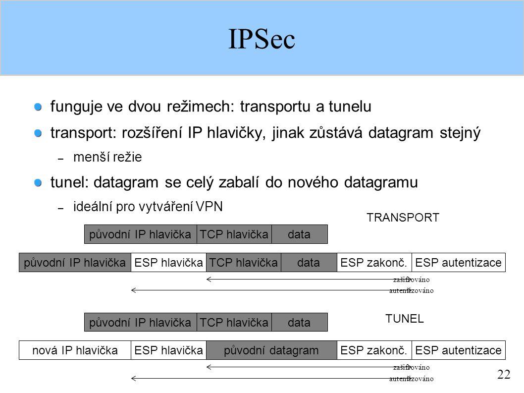 22 IPSec funguje ve dvou režimech: transportu a tunelu transport: rozšíření IP hlavičky, jinak zůstává datagram stejný – menší režie tunel: datagram se celý zabalí do nového datagramu – ideální pro vytváření VPN původní IP hlavičkaTCP hlavičkadata původní IP hlavičkaESP hlavičkaTCP hlavičkadataESP zakonč.ESP autentizace zašifrováno autentizováno původní IP hlavičkaTCP hlavičkadata nová IP hlavičkaESP hlavičkapůvodní datagramESP zakonč.ESP autentizace zašifrováno autentizováno TRANSPORT TUNEL