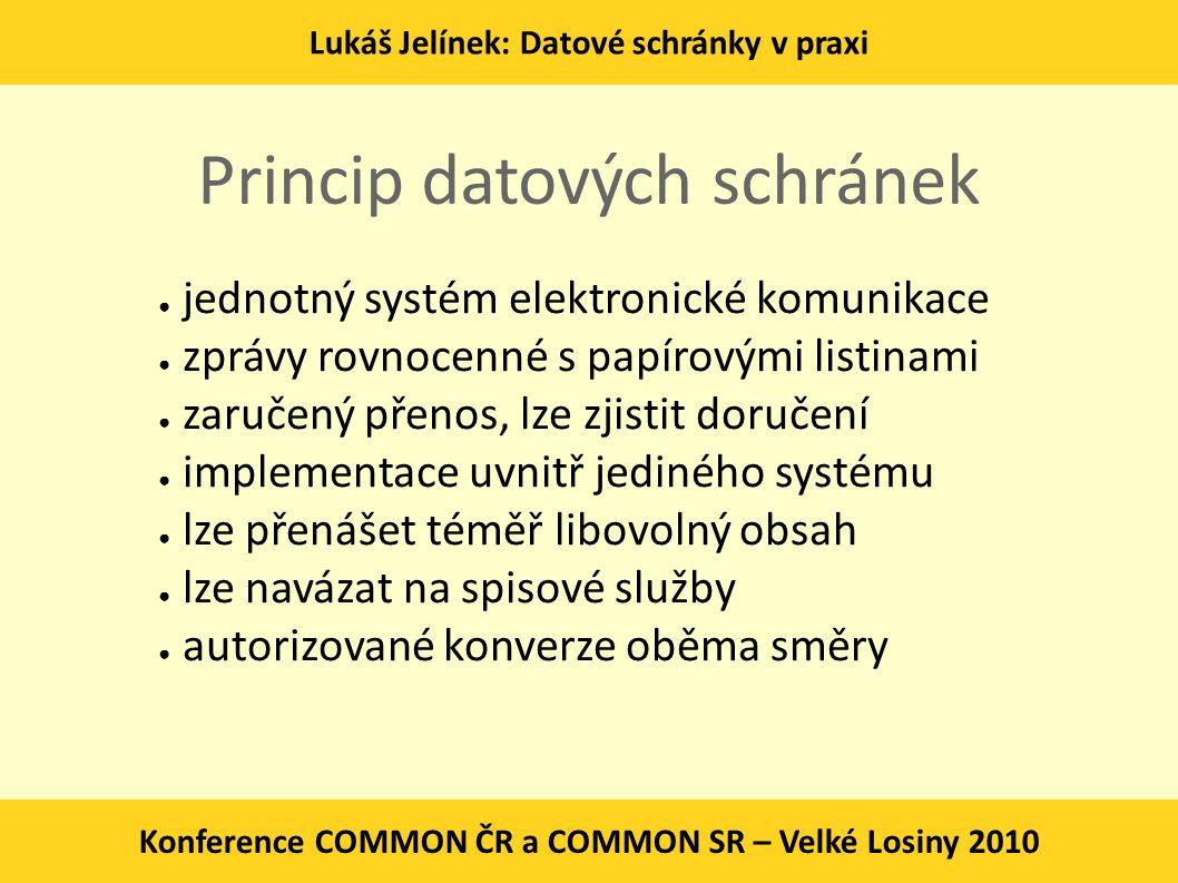 Princip datových schránek ● jednotný systém elektronické komunikace ● zprávy rovnocenné s papírovými listinami ● zaručený přenos, lze zjistit doručení