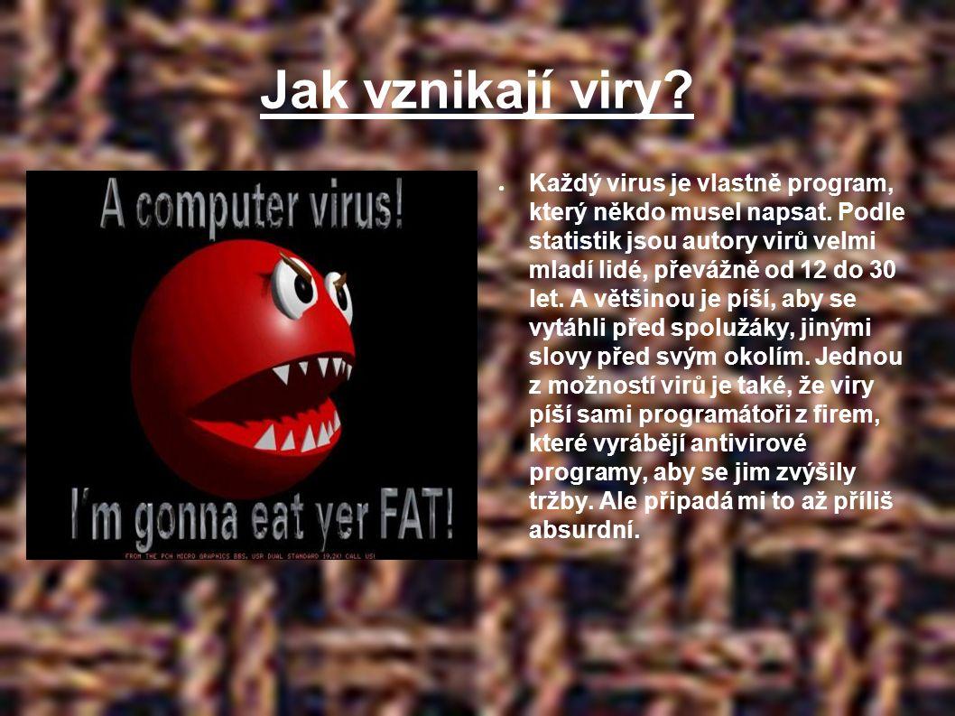Jak vznikají viry. ● Každý virus je vlastně program, který někdo musel napsat.