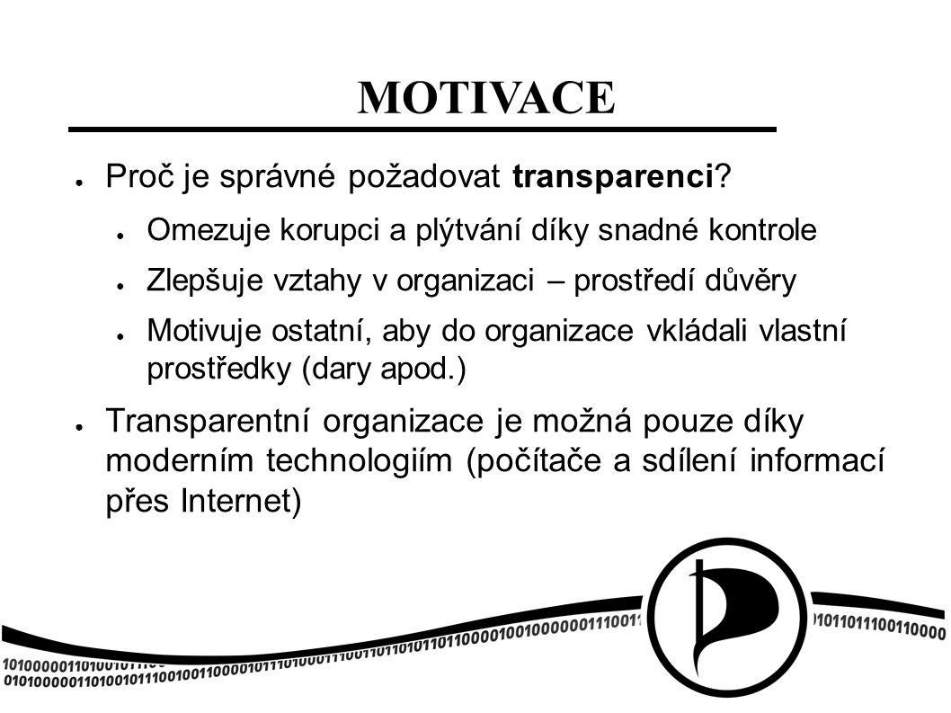 MOTIVACE ● Proč je správné požadovat transparenci? ● Omezuje korupci a plýtvání díky snadné kontrole ● Zlepšuje vztahy v organizaci – prostředí důvěry