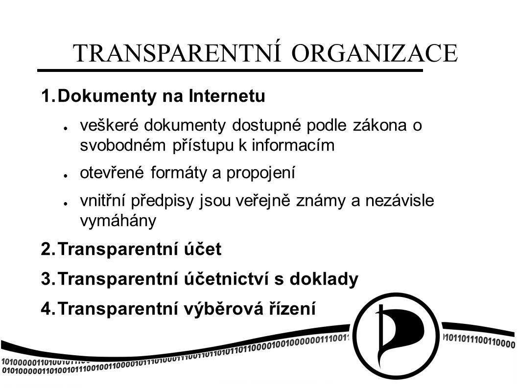 TRANSPARENTNÍ ORGANIZACE 1. Dokumenty na Internetu ● veškeré dokumenty dostupné podle zákona o svobodném přístupu k informacím ● otevřené formáty a pr