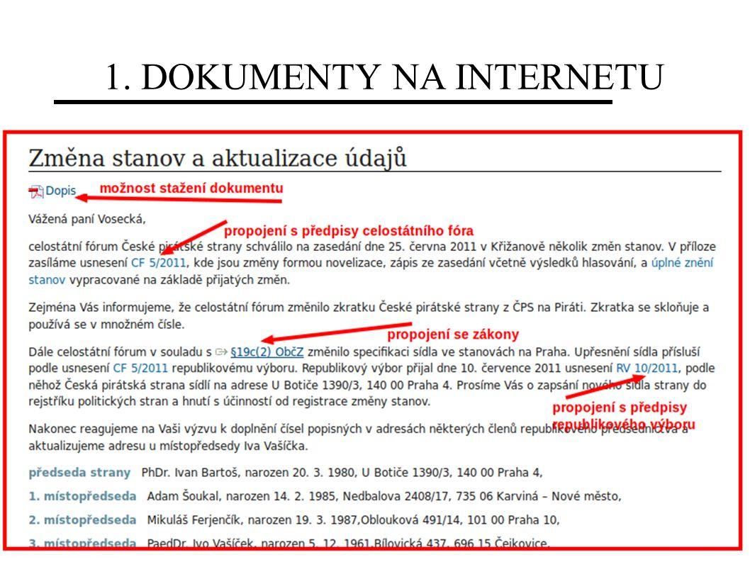 1. DOKUMENTY NA INTERNETU