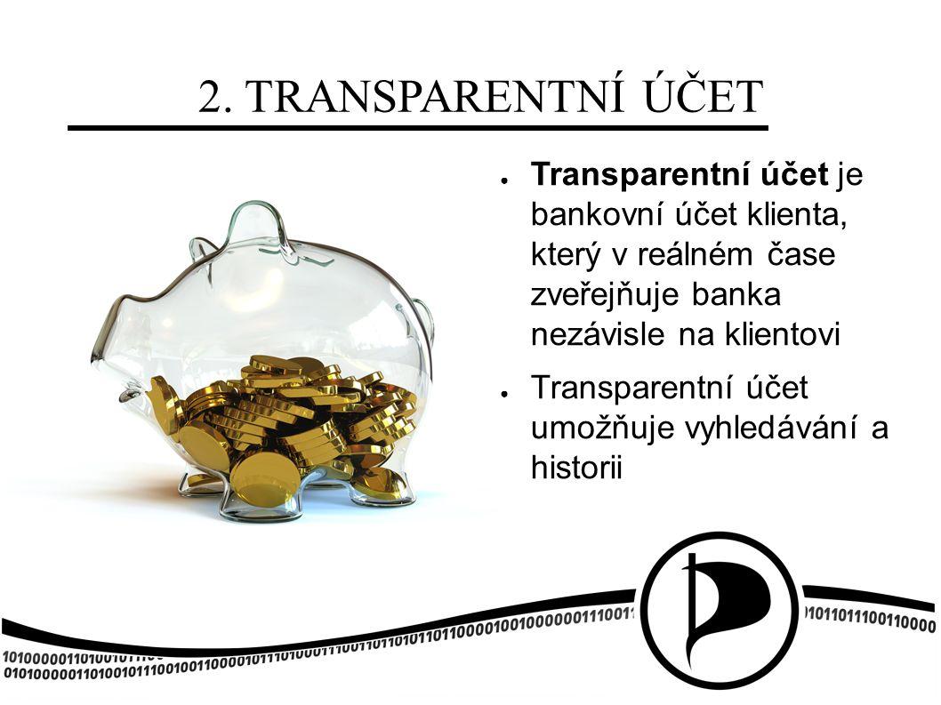 2. TRANSPARENTNÍ ÚČET ● Transparentní účet je bankovní účet klienta, který v reálném čase zveřejňuje banka nezávisle na klientovi ● Transparentní účet