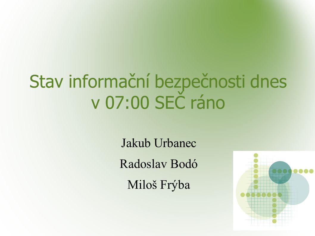 Stav informační bezpečnosti dnes v 07:00 SEČ ráno Jakub Urbanec Radoslav Bodó Miloš Frýba