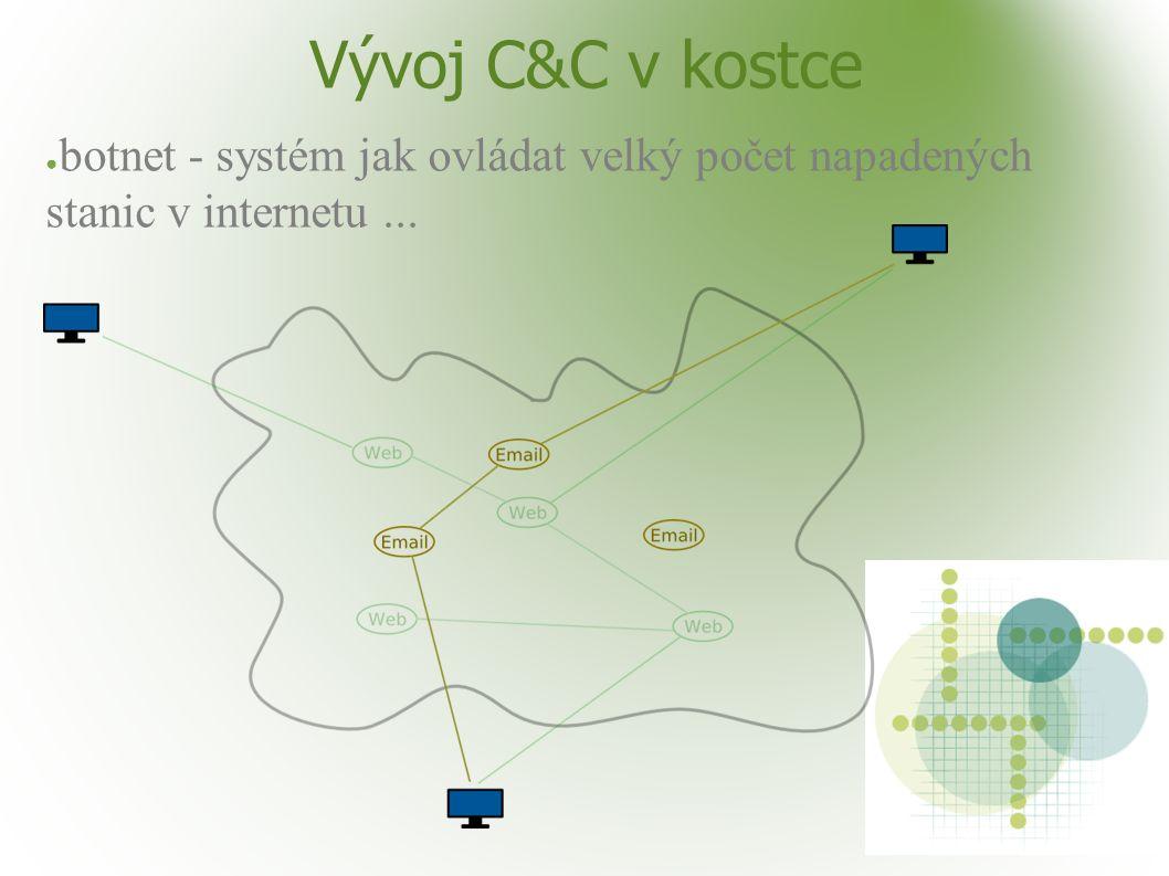 Vývoj C&C v kostce ● botnet - systém jak ovládat velký počet napadených stanic v internetu...
