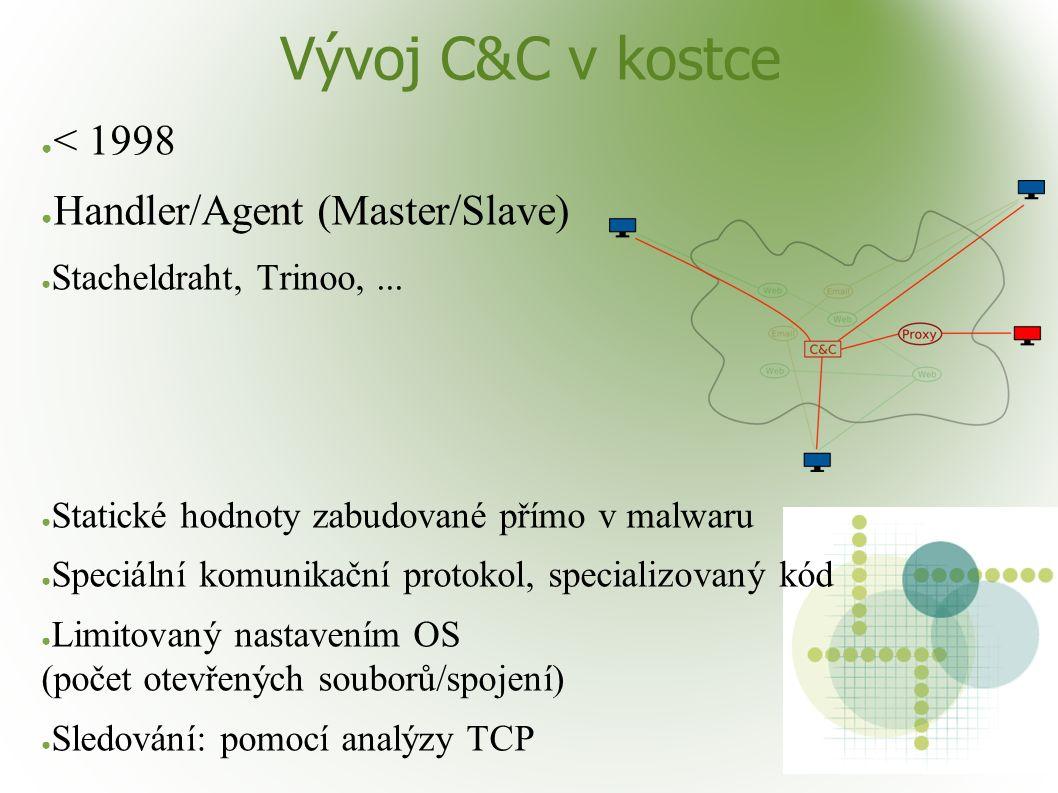 Vývoj C&C v kostce ● < 1998 ● Handler/Agent (Master/Slave) ● Stacheldraht, Trinoo,... ● Statické hodnoty zabudované přímo v malwaru ● Speciální komuni