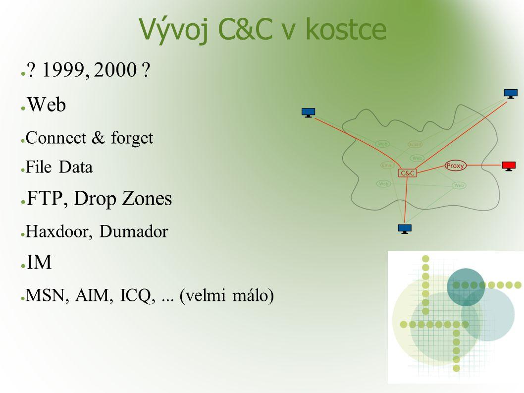 Vývoj C&C v kostce ● ? 1999, 2000 ? ● Web ● Connect & forget ● File Data ● FTP, Drop Zones ● Haxdoor, Dumador ● IM ● MSN, AIM, ICQ,... (velmi málo)