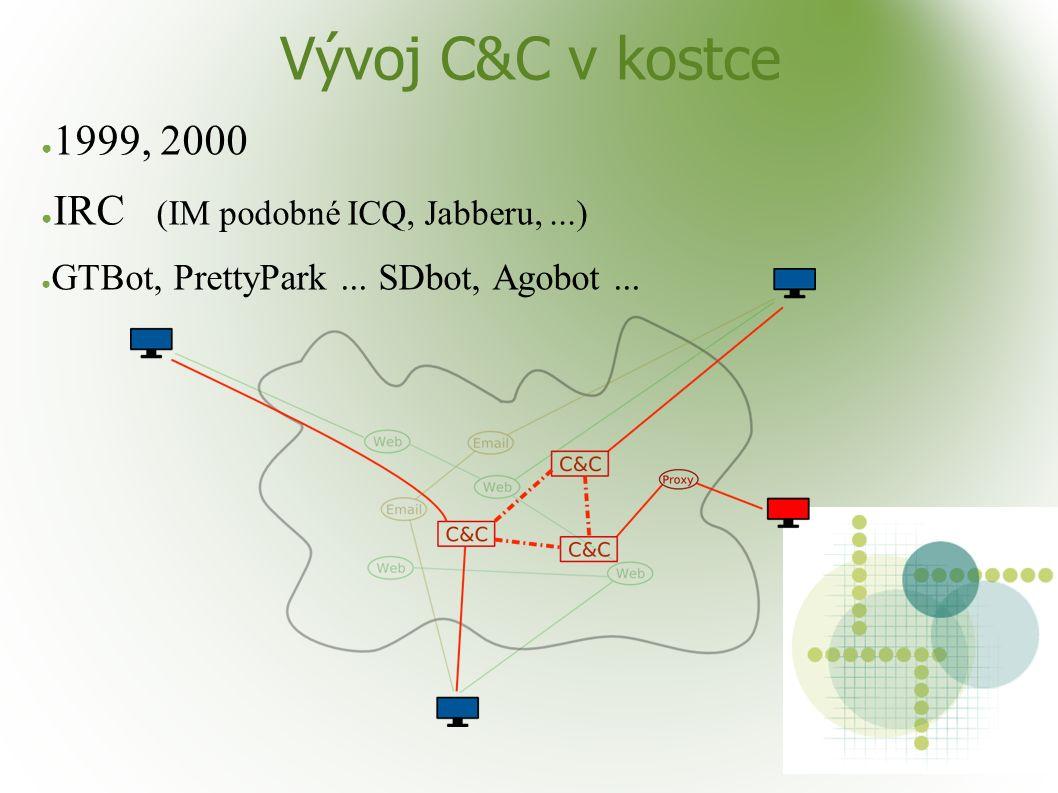 Vývoj C&C v kostce ● 1999, 2000 ● IRC (IM podobné ICQ, Jabberu,...) ● GTBot, PrettyPark... SDbot, Agobot...