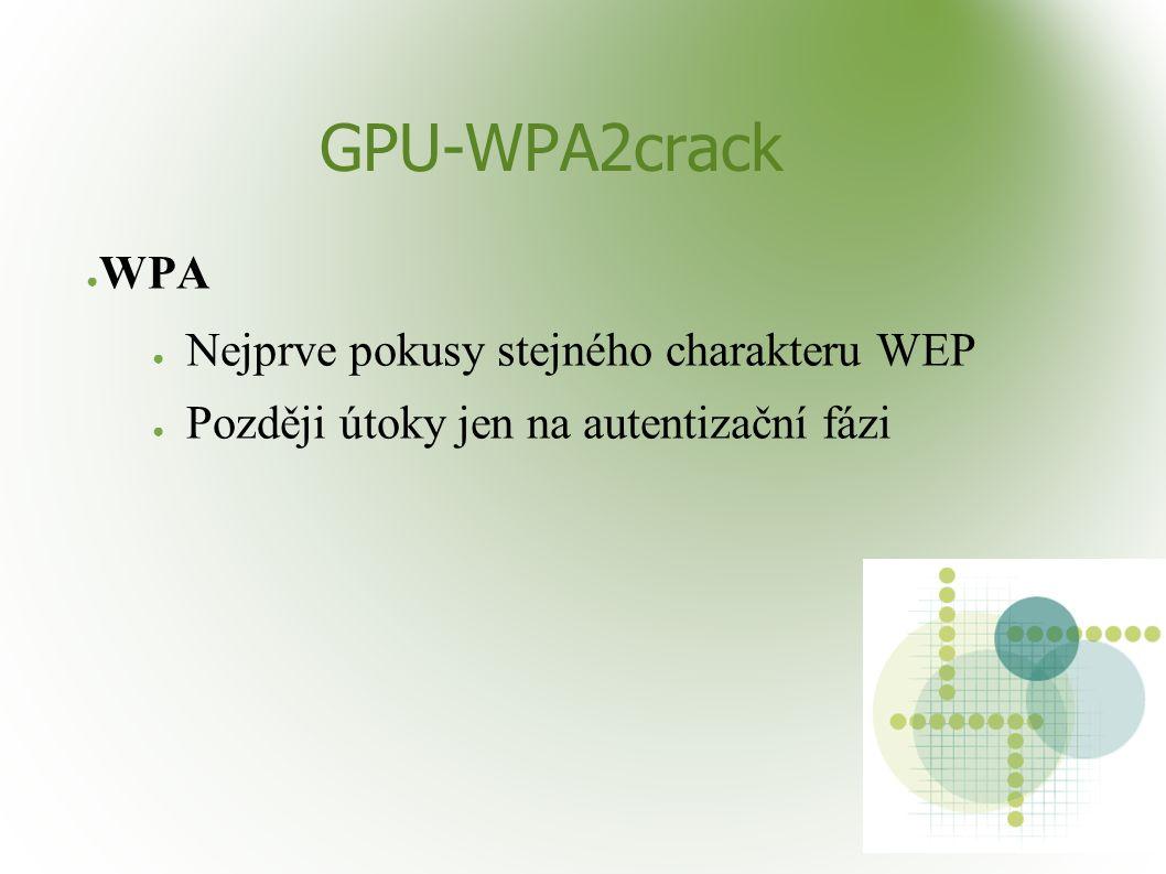 GPU-WPA2crack ● WPA ● Nejprve pokusy stejného charakteru WEP ● Později útoky jen na autentizační fázi