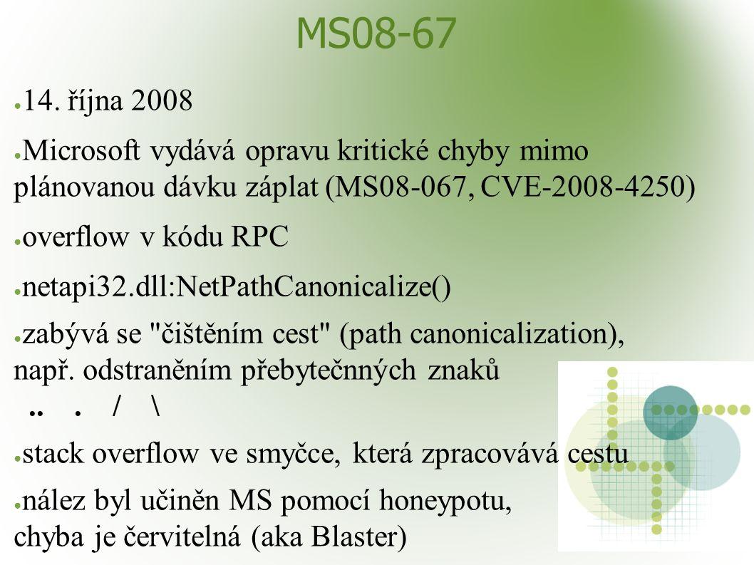MS08-67 ● 14. října 2008 ● Microsoft vydává opravu kritické chyby mimo plánovanou dávku záplat (MS08-067, CVE-2008-4250) ● overflow v kódu RPC ● netap