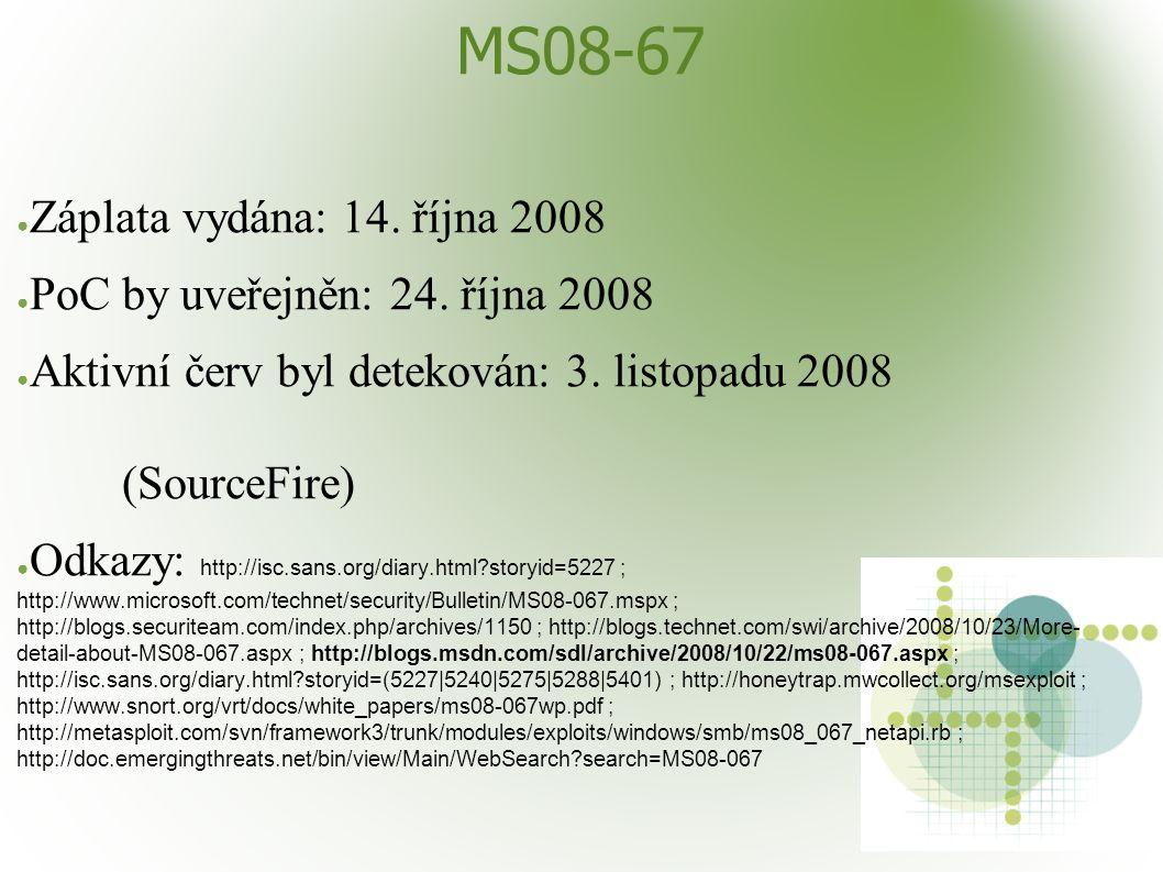 MS08-67 ● Záplata vydána: 14. října 2008 ● PoC by uveřejněn: 24. října 2008 ● Aktivní červ byl detekován: 3. listopadu 2008 (SourceFire) ● Odkazy: htt