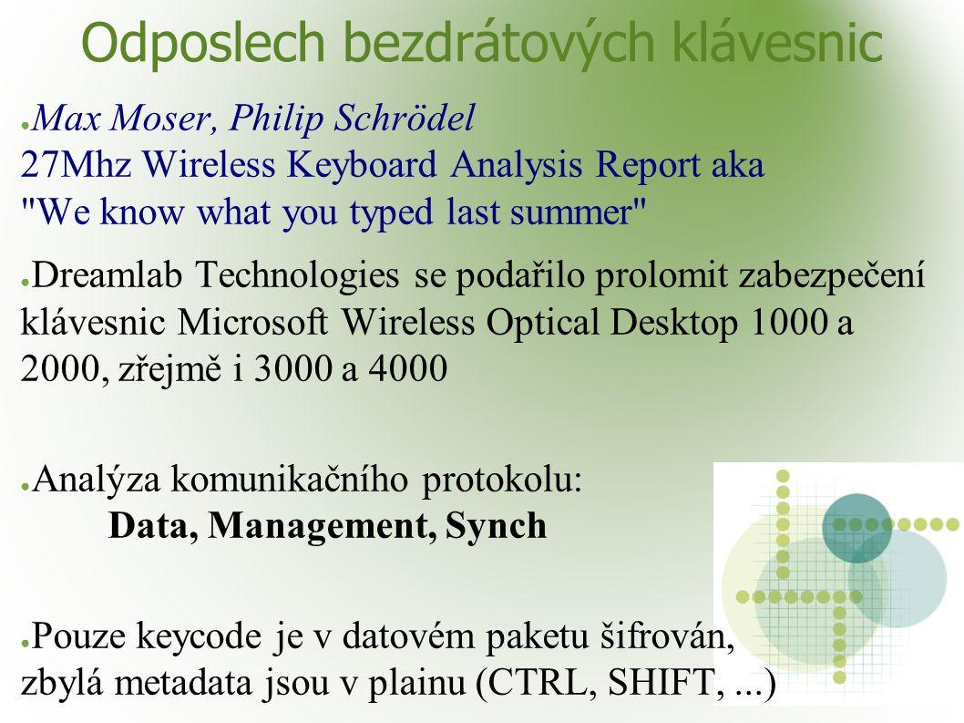 Odposlech bezdrátových klávesnic ● Max Moser, Philip Schrödel 27Mhz Wireless Keyboard Analysis Report aka