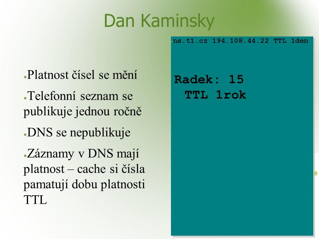 Dan Kaminsky ● Platnost čísel se mění ● Telefonní seznam se publikuje jednou ročně ● DNS se nepublikuje ● Záznamy v DNS mají platnost – cache si čísla pamatují dobu platnosti TTL ● ns.t1.cz 194.108.44.22 TTL 1den Radek: 15 TTL 1rok ● ns.t1.cz 194.108.44.22 TTL 1den Radek: 15 TTL 1rok