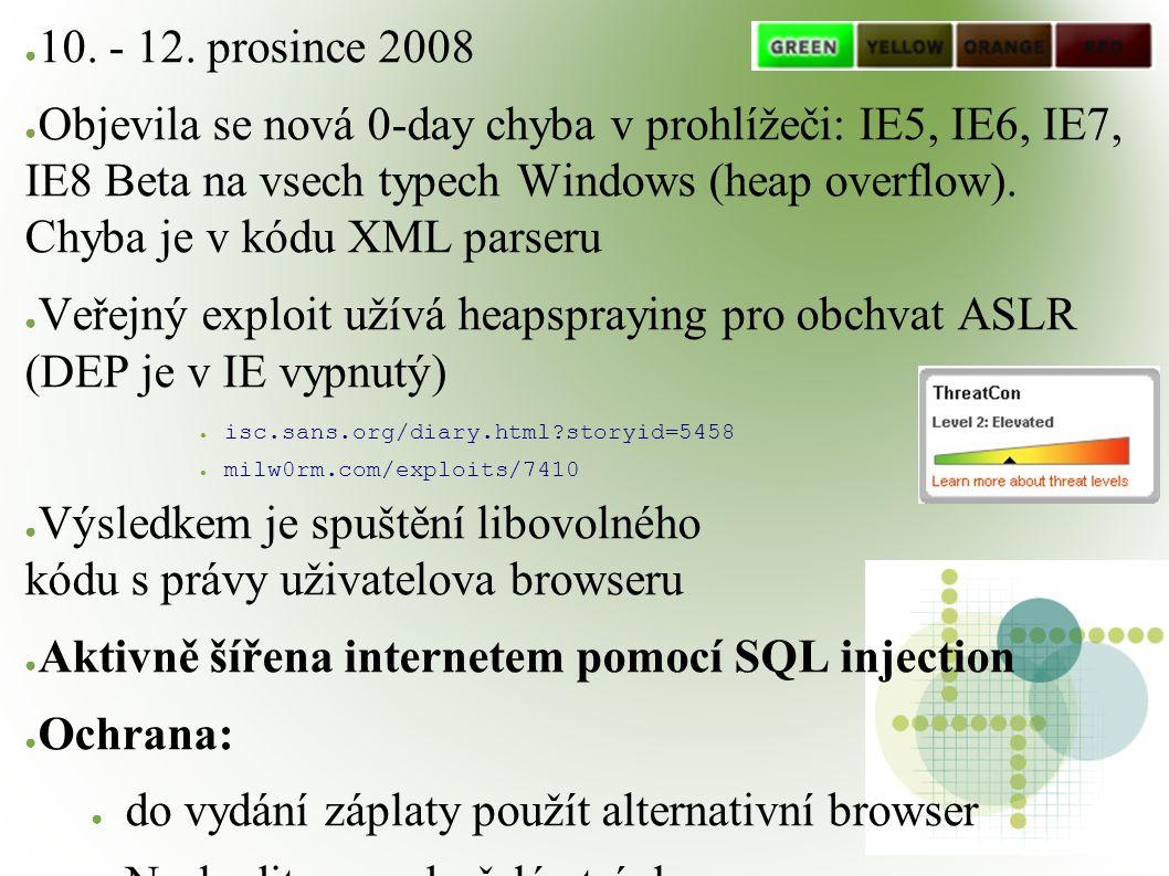 ● 10. - 12. prosince 2008 ● Objevila se nová 0-day chyba v prohlížeči: IE5, IE6, IE7, IE8 Beta na vsech typech Windows (heap overflow). Chyba je v kód